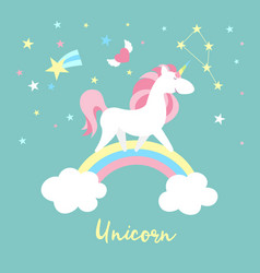 unicorn character set cute magic collection vector image