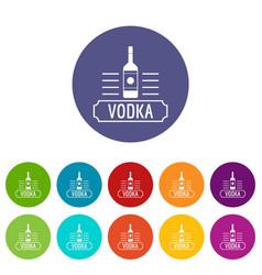 vodka icons set color vector image