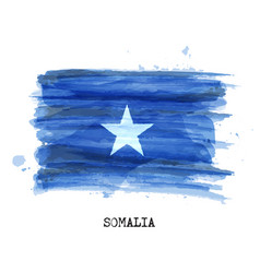 watercolor painting design flag of somalia vector image