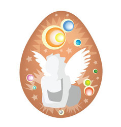White Angel Painted on Easter Egg vector image
