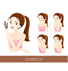 woman with step to apply eyebrow makeup vector image