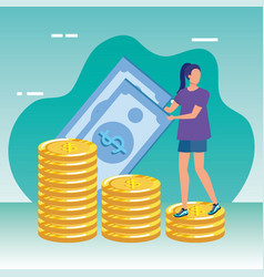 Young woman with money character vector