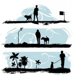 a man walking his dog vector image