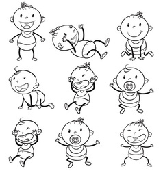 Babies with different moods vector image vector image