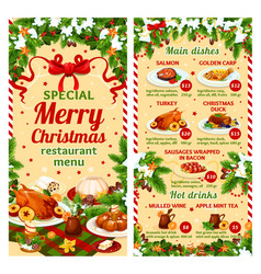 christmas dinner restaurant dish menu vector image vector image