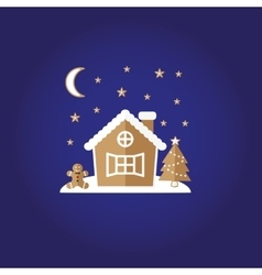 Festive gingerbread House man stars vector image