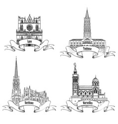 france attraction sign set famous french city vector image