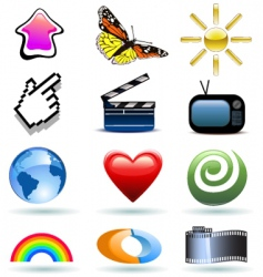 icons collection glossy graphic symbols vector image