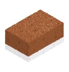 isometric chocolate cake isolated on white vector image vector image