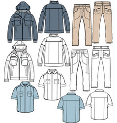 jacket pants shirt apparel sketch fashion man boy vector image vector image