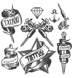 set of tattoo labels in vintage vector image vector image