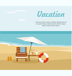 Chaise lounge and umbrella on the beach vector