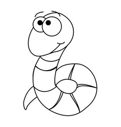 colorless funny cartoon worm vector image