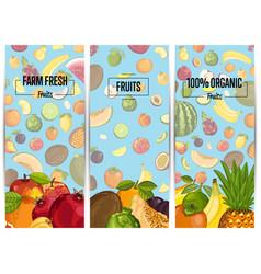 farm fresh fruit vertical flyers set vector image vector image
