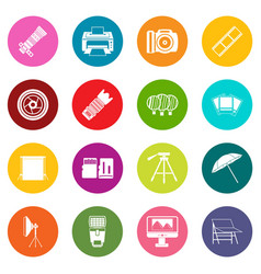 photo studio icons many colors set vector image