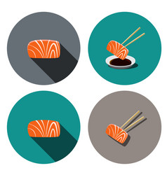 set of sashimi salmon icon in flat style vector image vector image
