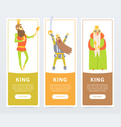 Vertical banners set with different kings kind vector