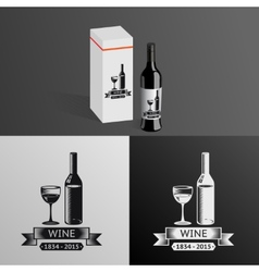 Wine Alcohol Drink Logo Symbol Bottle Glass vector image vector image