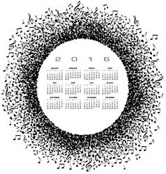 A 2016 music calendar vector image vector image