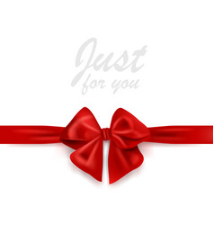blank greeting card with red gift ribbon and bow vector image