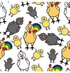 chicken family pattern vector image