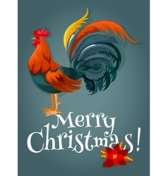 Christmas and New Year card with fire red rooster vector image vector image