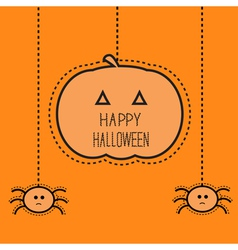 Halloween card with hanging pumpkin and two spider vector image vector image