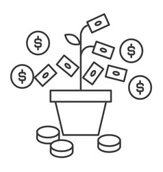 money growth line icon sign vector image vector image
