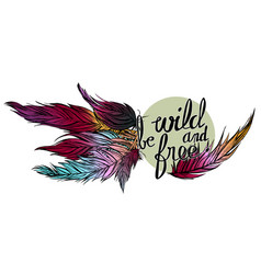 quote be wild and free and colorfull feathers vector image