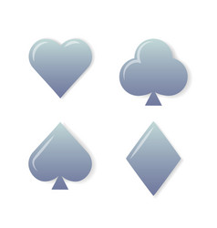 silver playing cards symbols set on white vector image vector image