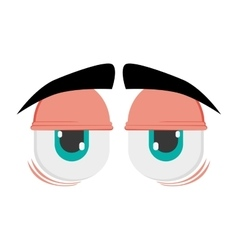 tired cartoon eyes icon vector image