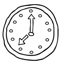 black and white wall clock cartoon doodle vector image