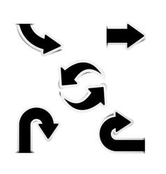black arrow stickers with shadows vector image vector image