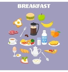 Breakfast with fresh food and drinks icons set vector image vector image