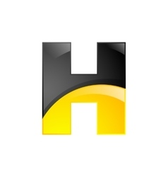 Creative yellow and black symbol letter H for your vector image vector image