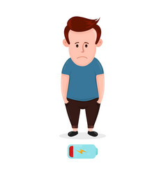 tired sad young man with low energy level vector image vector image