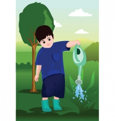 watering the garden vector image vector image