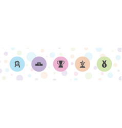 5 trophy icons vector