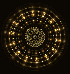 abstract gold round frame with mandala vector image