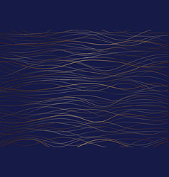 abstract golden wave lines pattern on dark blue vector image