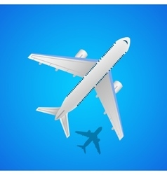 Airplane in the air with shadow vector image