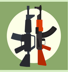 Ak47 icon and m16 icon machine gun black vector