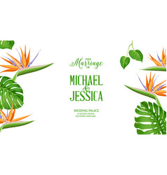 Avesome design for marriage invitation tropical vector