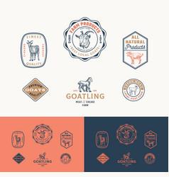 Best local goat farm retro framed badges or logo vector