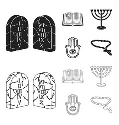 bible menorah hamsa orthodox crossreligion set vector image