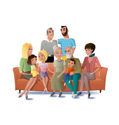 Big family gathering together concept vector
