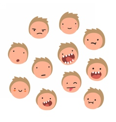 Boy emotions Cartoon faces vector