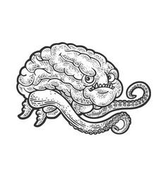 Brain with tentacles line art sketch vector