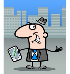 businessman with tablet pc cartoon vector image