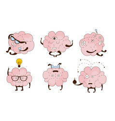 Cartoon brain with different objects in hands vector